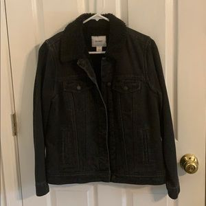 Black, fuzzy denim jacket